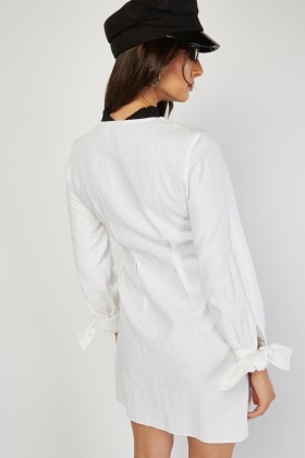 Tie Up Sleeve Partly Linen Dress