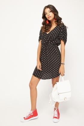 Toggled Waist Polka Dot Tea Dress