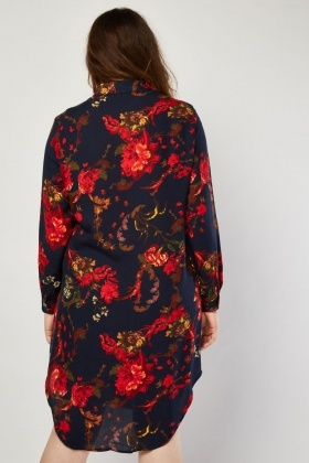 Vintage Flower Printed Shirt Dress