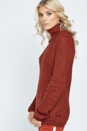 Chunky Roll Neck Knitted Jumper