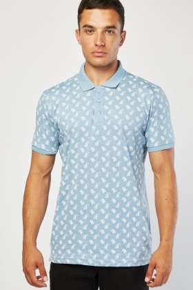 Damask Print Polo Shirt