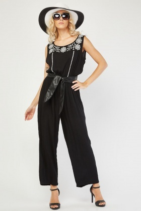 Embroidered Crinkle Jumpsuit