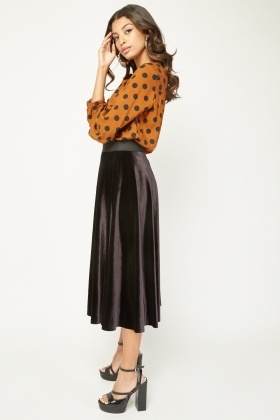 High Waist Velveteen Circular Skirt
