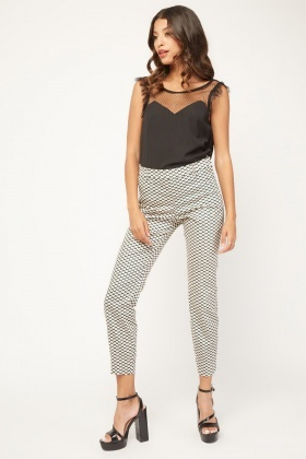 Illusion Print Cigarette Trousers