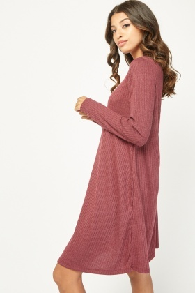 Long Sleeve Flared Ribbed Dress
