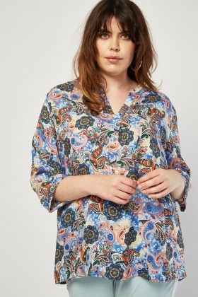 Mix Paisley Print Blouse