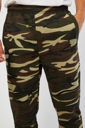 Ribbed Ankle Camouflage Joggers