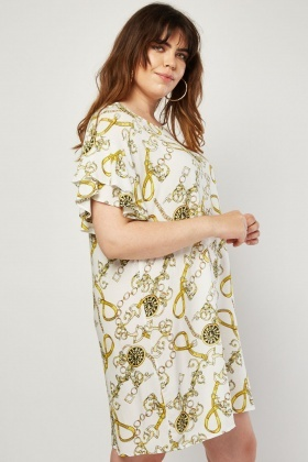 Scarf Chain Print Shift Dress