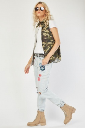 Applique Patch Trim Distressed Jeans