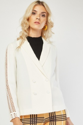 Crochet Trim Double Breasted Blazer