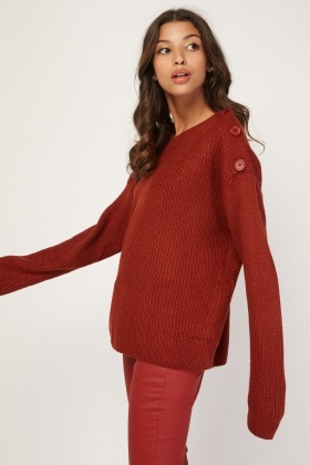 Decorative Button Trim Knit Jumper