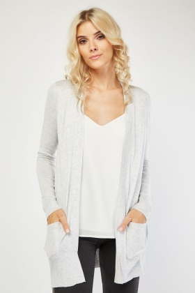 Knitted Open Front Speckled Cardigan
