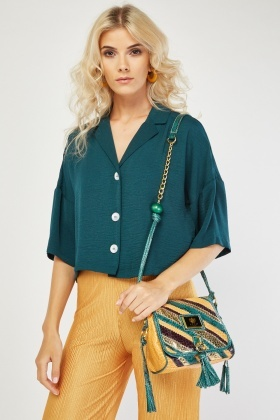 Lapel Front Crop Blouse