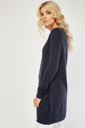 Navy Ribbed Trim Knit Sweater