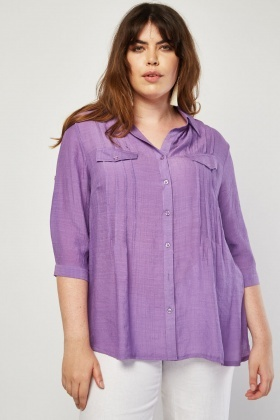 Pleated Front Panel Shirt
