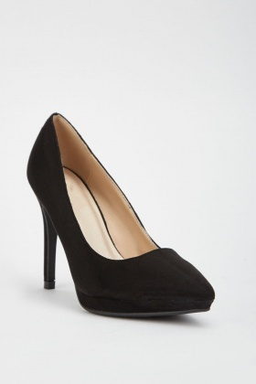 Black Suedette Court Shoes