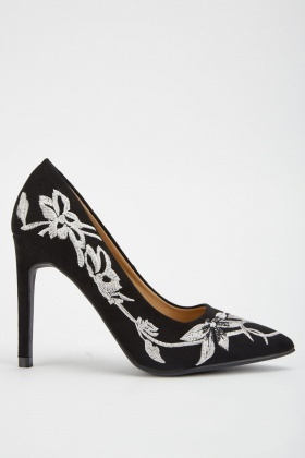 Embroidered Suedette Court Heels