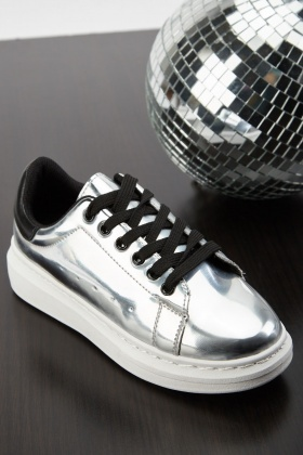 Lace Up Metallic Trainers
