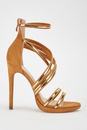 Metallic Spiral Strap Heeled Sandals