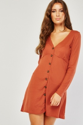 Button Front Brown Ribbed Dress