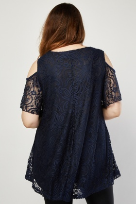 Cut Out Sleeve Frilly Lace Top