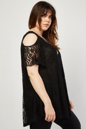 Cut Out Sleeve Lace Top