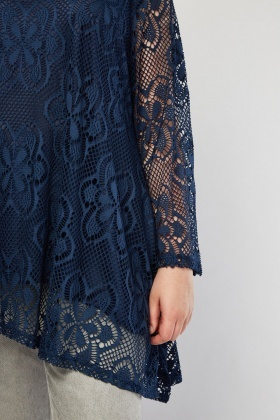 Lace Overlay Tunic Top