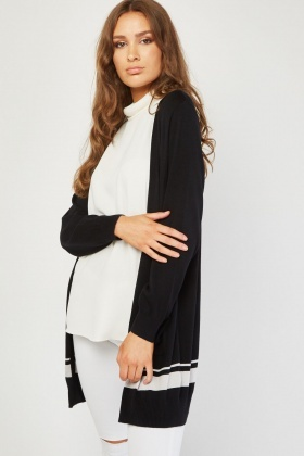 Open Front Contrasted Panel Cardigan