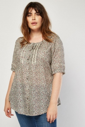 Pleated Lace Insert Printed Blouse