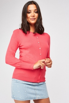 Button Front Fine Knit Cardgan