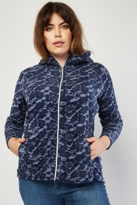 Lace Pattern Hooded Fleece Jacket