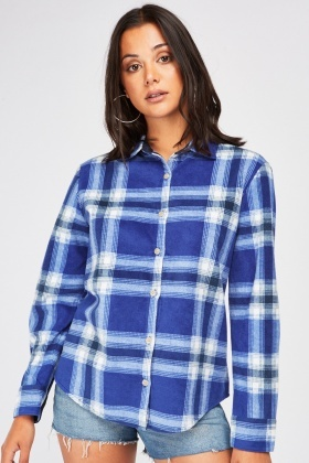 Long Sleeve Checkered Flannel Shirt