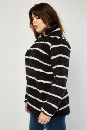 Mono Striped Teddy Fur Jumper