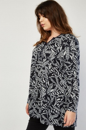 Plant Printed Jersey Knit Top