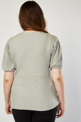 Round Neck Grey Ribbed Top