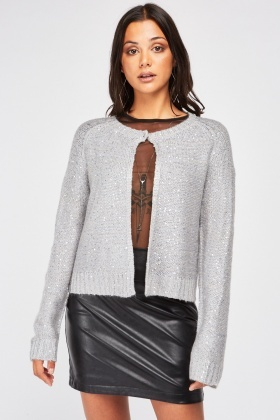 Sequin Overlay Knit Cardigan