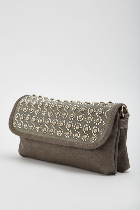 Encrusted Spiral Flap Clutch Bag
