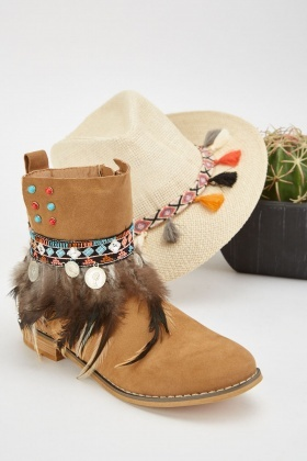 Feather Coin Trim Ankle Boots