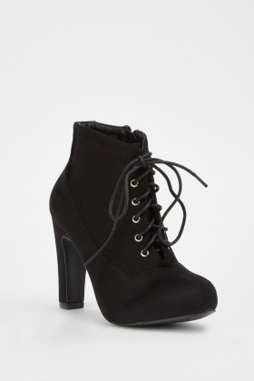 Lace Up Faux Suede Boots