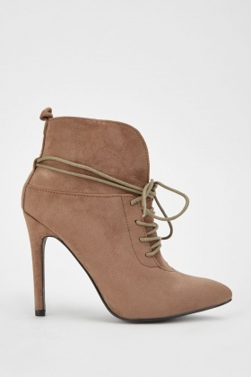 Lace Up Pointy Suedette Boots