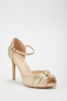 Lurex Knotted Heeled Sandals