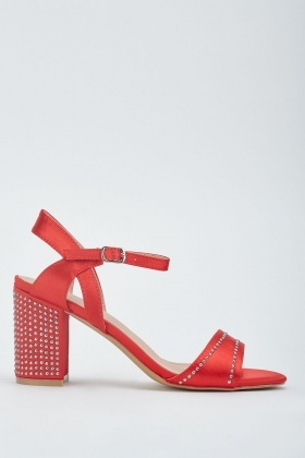 Studded Block Heel Sateen Sandals
