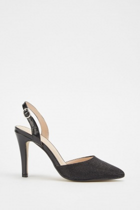 Textured Slingback Court Heels