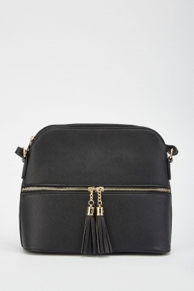 Two-Tone Contrast Zipper Tassel Bag
