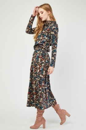 All Over Paisley Print Hooded Dress
