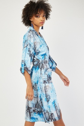 Architecture Print Blazer Style Dress
