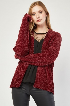 Chenille Knit Open Front Cardigan