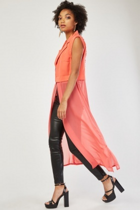 Cut Out Back Sleeveless Chiffon Blazer