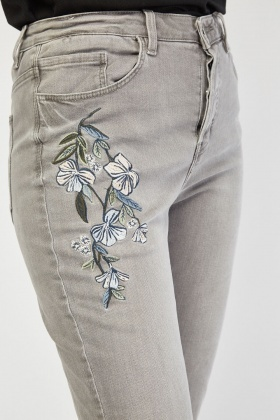 Embroidered Grey Crop Jeans