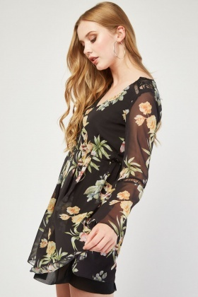 Flute Sleeve Flower Print Skater Dress